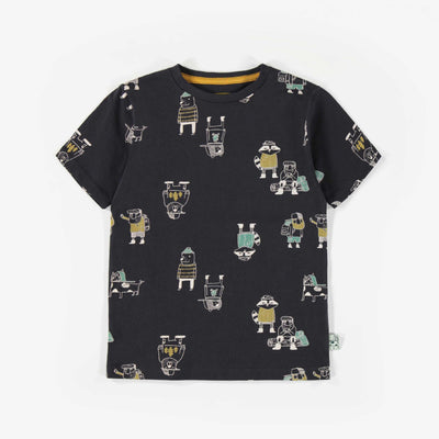 T-shirt noir à motifs, enfant garçon || Black patterned T-shirt, child boy