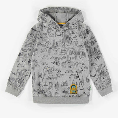 Chandail à capuchon gris à motifs || Grey patterned hoody