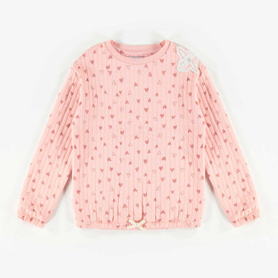 Chandail matelassé rose à motifs, enfant fille  || Pink Pattern Bonded Sweater, Girl