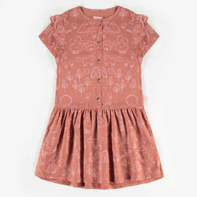 Robe brune à motifs, enfant fille  || Brown Pattern Dress, Girl
