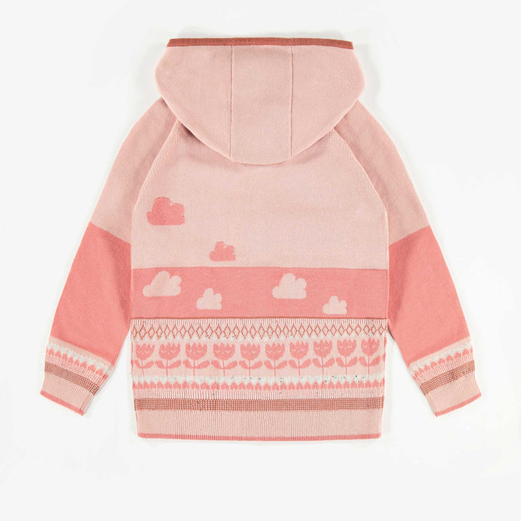 Veste de maille rose à capuchon, enfant fille  || Pink Hooded Knit Vest, Girl