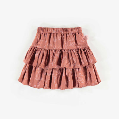 Jupe brune à motifs, enfant fille  || Brown Pattern Skirt, Girl