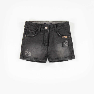 Short en denim foncé, enfant fille  || Dark Denim Short, Girl
