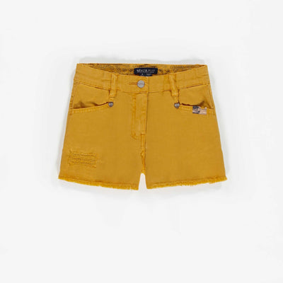 Short de denim jaune, enfant fille || Yellow Short denim, child girl