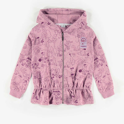 Veste mauve à capuchon, enfant fille  || Purple Hooded Vest, Girl