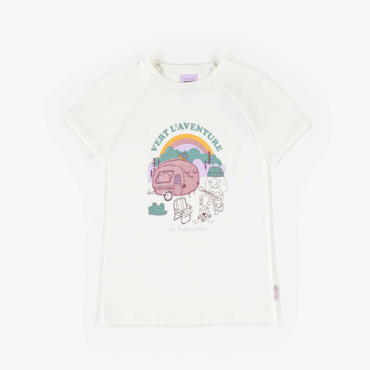 T-shirt à manches courtes ivoire, enfant fille  || Ivory Short-Sleeve T-shirt, Girl
