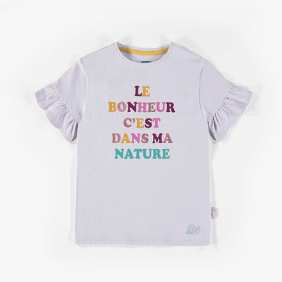 T-shirt à manches courtes mauve pâle, enfant fille  || Light purple Short-Sleeve T-shirt, child girl