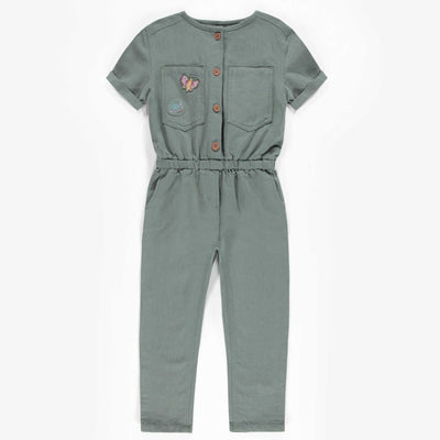 Combinaison verte à manches courtes, enfant fille  || Green short-sleeve jumpsuit, child girl