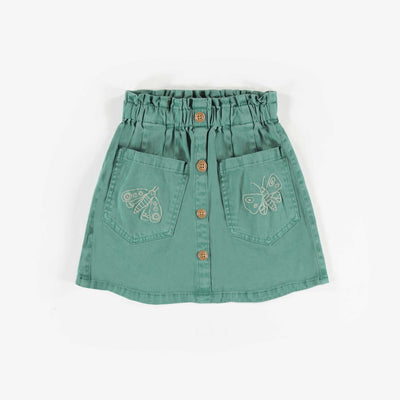 Jupe en denim aqua foncé, enfant fille  || Dark Teal Denim Skirt, Girl