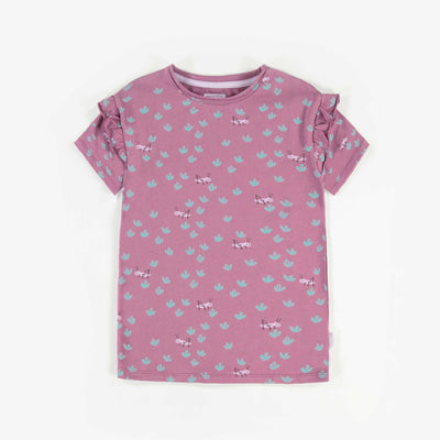 T-shirt à manches courtes mauve à motifs, enfant fille  || Purple Pattern Short-Sleeve T-shirt, Girl
