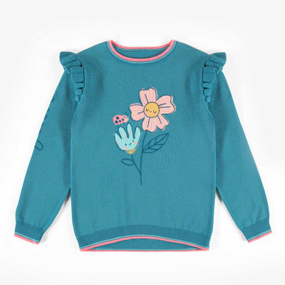 Chandail de maille aqua à motifs, enfant fille || Aqua patterned knit sweater, child girl