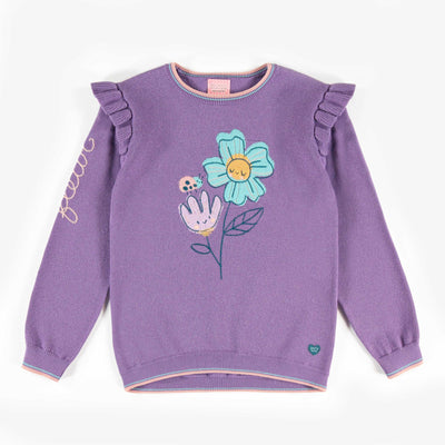 Chandail de maille mauve à motifs, enfant fille || Mauve patterned knit sweater, child girl