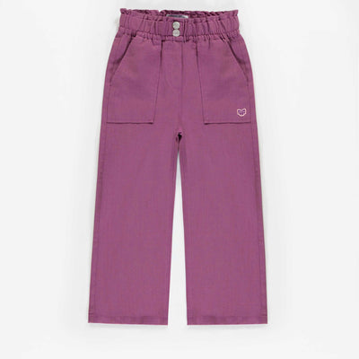 Pantalon mauve de coupe large, enfant fille || Wide cut mauve Pants, child girl