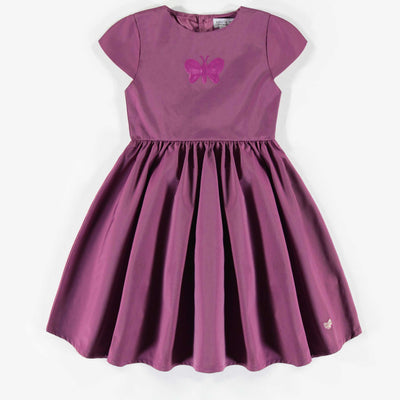 Robe mauve en taffetas, enfant fille  || Purple taffeta dress, child girl