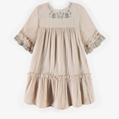 Robe crème en mousseline, fille || Cream muslin dress, girl