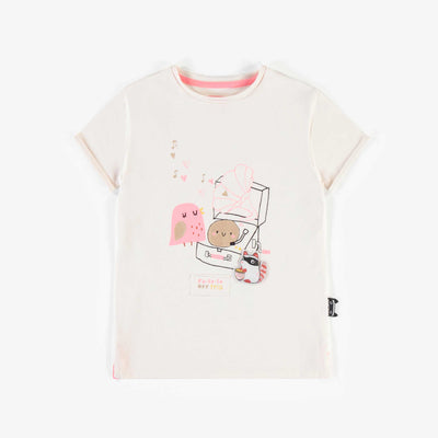 T-shirt blanc avec illustration, fille || White T-shirt with illustration, girl