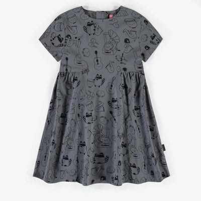 Robe grise à motifs, fille || Grey patterned dress, girl