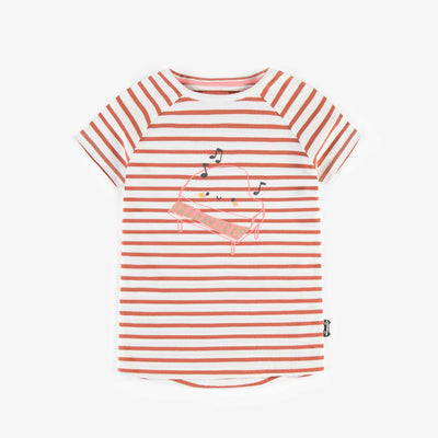 T-shirt ligné avec illustration, fille || Striped T-shirt with illustration, girl