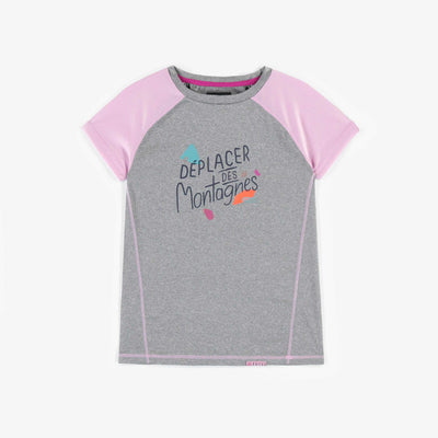 T-shirt sport rose et gris, fille || Pink and grey sport t-shirt, girl