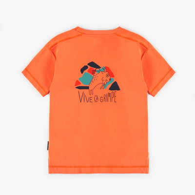 T-shirt sport orange avec illustration au dos, unisexe || Orange sport t-shirt with illustration on the back, unisex