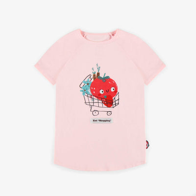 T-shirt rose avec illustration, fille || Pink T-shirt with illustration, girl