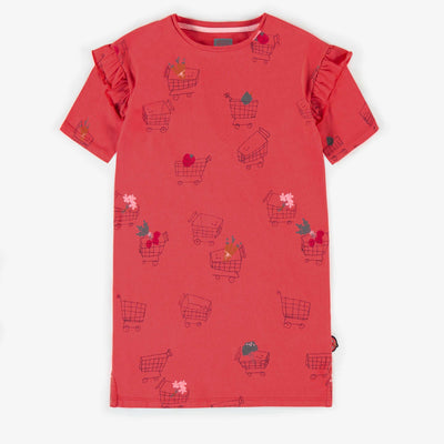 Robe t-shirt à motifs, fille || Red patterned t-shirt dress, girl