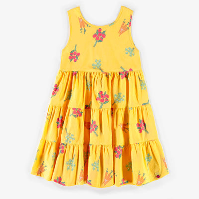Robe jaune à motifs en popeline, fille || Yellow poplin patterned dress, girl