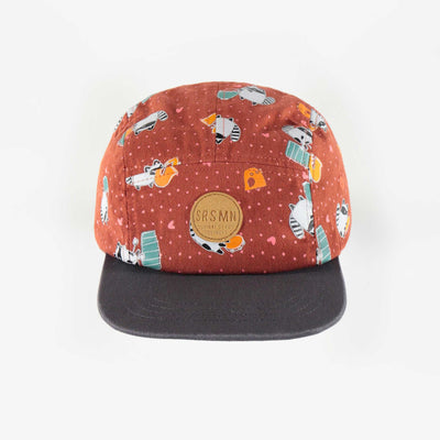 Casquette brune à motifs, enfant fille || Brown patterned cap, child girl