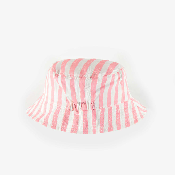 Chapeau de soleil ligné rose et blanc, enfant fille || White and pink lined sun hat, child girl