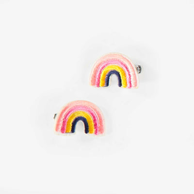 Ensemble de deux barrettes à cheveux arc-en-ciel, enfant fille || Set of Two Decorative Hair Clips, child girl