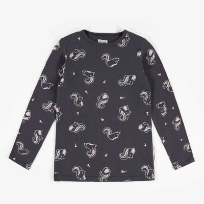 T-shirt charcoal à manches longues avec motifs de jolies mouffettes || Obsidian long-sleeve T-shirt with pretty skunk pattern