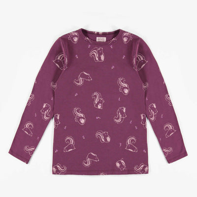T-shirt bordeaux à manches longues avec motifs de jolies mouffettes