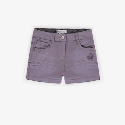Short de denim mauve pâle, fille || Pale purple denim shorts, girl