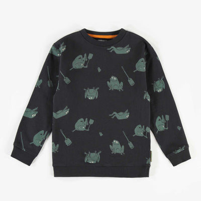 Chandail noir à motifs en coton français || Black patterned French terry Sweater