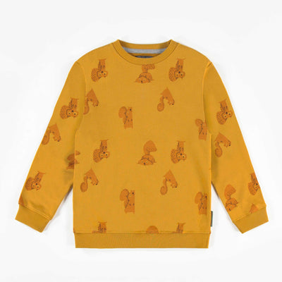 Chandail jaune à motifs en coton français || Yellow patterned French terry Sweater
