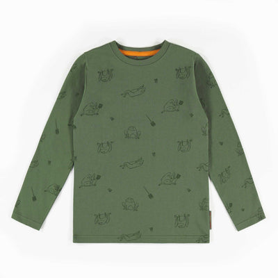 T-shirt à manches longues vert à motif || Green patterned long-sleeve T-shirt