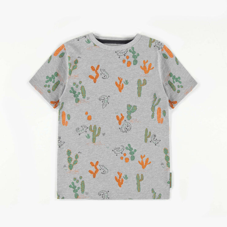 T-shirt gris à motifs de cactus || Grey cactus patterned T-shirt