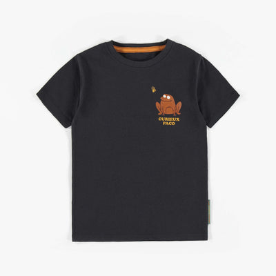 T-shirt charcoal à manches courtes grenouille || Charcoal short-sleeve frog T-shirt