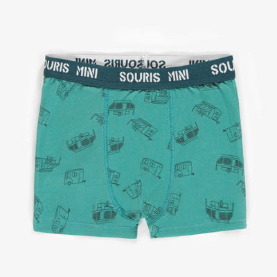Boxer aqua à motifs, enfant garçon