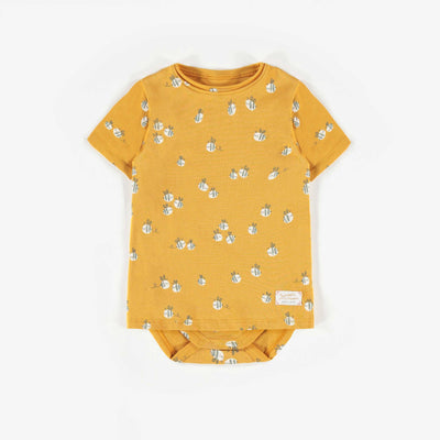 T-shirt cache-couche jaune à motifs biologique  || Organic Yellow Patterned Bodysuit T-shirt
