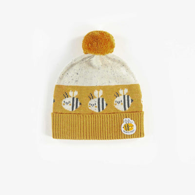 Bonnet en maille jaune et blanc biologique  || Organic Yellow and White Knit Beanie