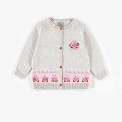 Cardigan en maille en coton biologique, naissance fille || Knit Cardigan in organic cotton, newborn girl