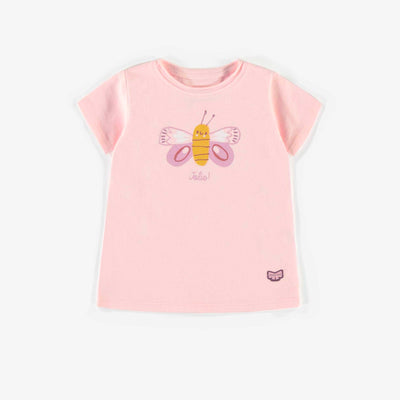 T-shirt rose avec imprimé en coton biologique, naissance fille || Pink t-shirt with print in organic cotton, newborn girl