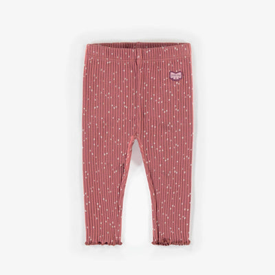 Legging brun à motifs en coton biologique, naissance fille || Brown patterned Leggings in organic cotton, newborn girl