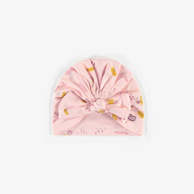 Bonnet rose à motifs en coton biologique, naissance fille || Pink Patterned Beanie in organic cotton, newborn girl