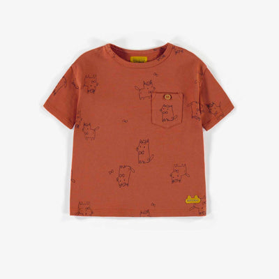 T-shirt brun à motifs en coton biologique, naissance unisexe || Brown patterned t-shirt in organic cotton, newborn unisex