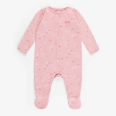 Pyjama à motifs en coton biologique, nouveau-né fille || Pink patterned Pyjamas in organic cotton, newborn girl