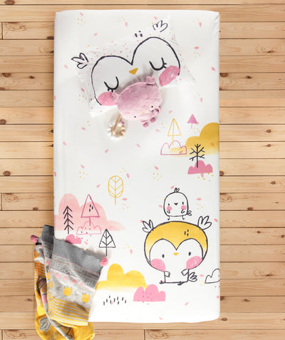 Ensemble drap contour Chouette pour lit de bébé || Owl Fitted Sheet Set for Baby Crib