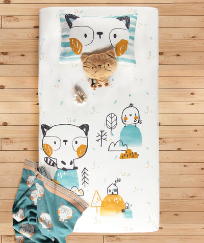 Ensemble drap contour Raton pour lit de bébé || Racoon Fitted Sheet Set for Baby Crib