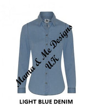 Load image into Gallery viewer, Hand Made Adult Ladies Denim Shirt Mural Print UK Sizes 8-16